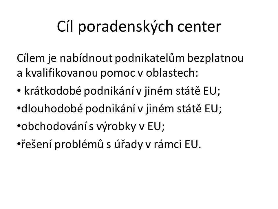 Cíl poradenských center Cílem je nabídnout podnikatelům bezplatnou a kvalifikovanou pomoc v oblastech: krátkodobé podnikání v jiném státě EU; dlouhodobé podnikání v jiném státě EU; obchodování s výrobky v EU; řešení problémů s úřady v rámci EU.