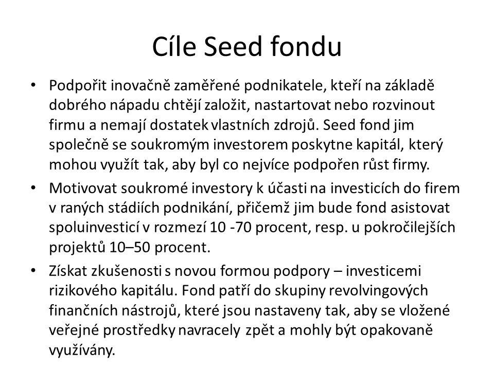 Cíle Seed fondu Podpořit inovačně zaměřené podnikatele, kteří na základě dobrého nápadu chtějí založit, nastartovat nebo rozvinout firmu a nemají dostatek vlastních zdrojů.