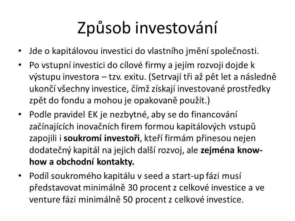 Způsob investování Jde o kapitálovou investici do vlastního jmění společnosti. Po vstupní investici do cílové firmy a jejím rozvoji dojde k výstupu in