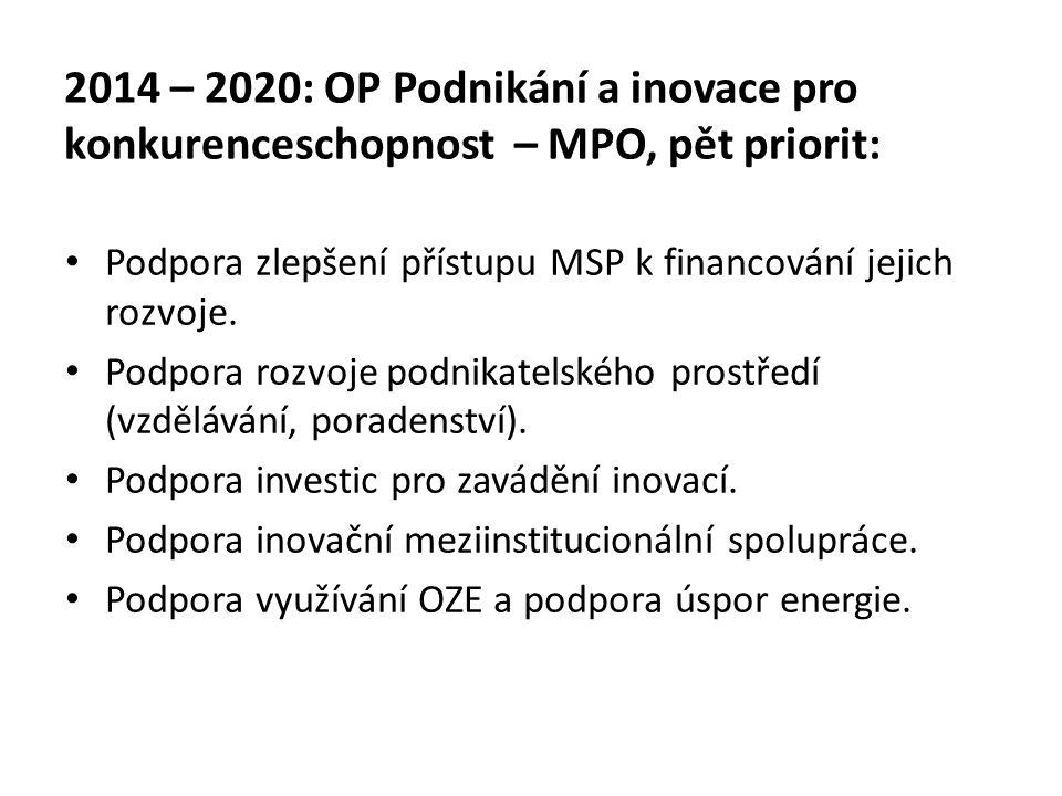 2014 – 2020: OP Podnikání a inovace pro konkurenceschopnost – MPO, pět priorit: Podpora zlepšení přístupu MSP k financování jejich rozvoje. Podpora ro