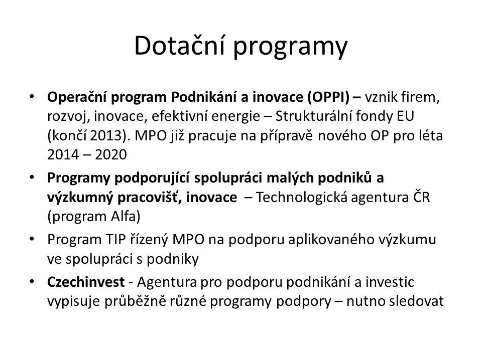 Dotační programy Operační program Podnikání a inovace (OPPI) – vznik firem, rozvoj, inovace, efektivní energie – Strukturální fondy EU (končí 2013). M