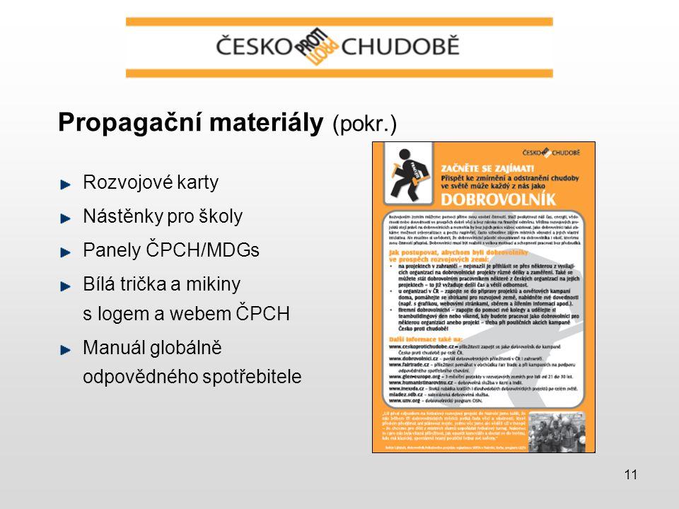 11 Propagační materiály (pokr.) Rozvojové karty Nástěnky pro školy Panely ČPCH/MDGs Bílá trička a mikiny s logem a webem ČPCH Manuál globálně odpovědného spotřebitele