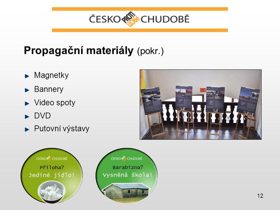12 Propagační materiály (pokr.) Magnetky Bannery Video spoty DVD Putovní výstavy