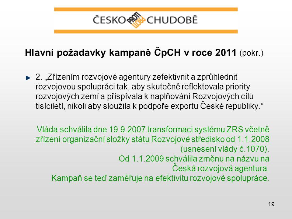 19 Hlavní požadavky kampaně ČpCH v roce 2011 (pokr.) 2.