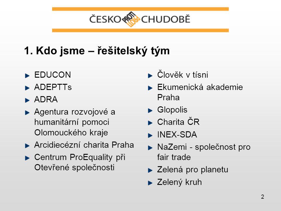 2 1. Kdo jsme – řešitelský tým EDUCON ADEPTTs ADRA Agentura rozvojové a humanitární pomoci Olomouckého kraje Arcidiecézní charita Praha Centrum ProEqu
