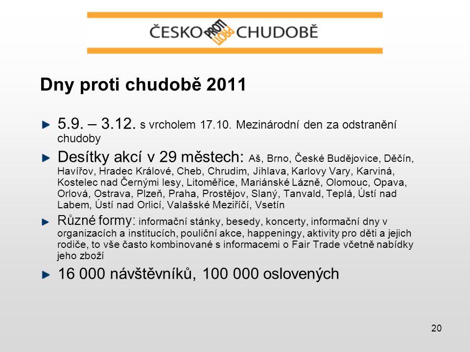 20 Dny proti chudobě 2011 5.9. – 3.12. s vrcholem 17.10.