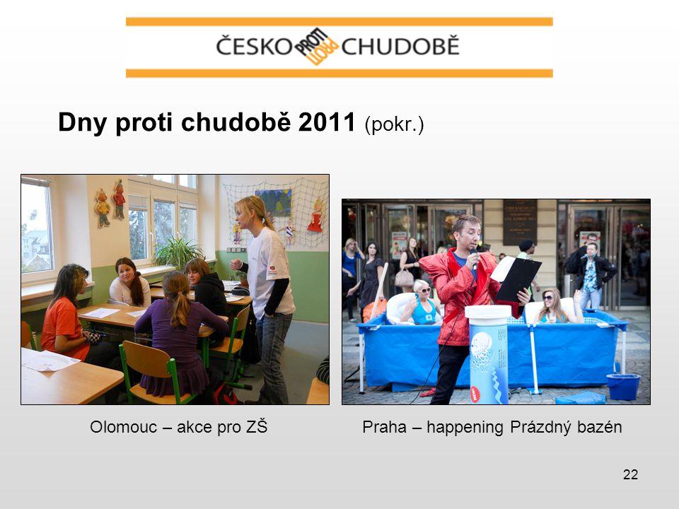 22 Dny proti chudobě 2011 (pokr.) Olomouc – akce pro ZŠPraha – happening Prázdný bazén