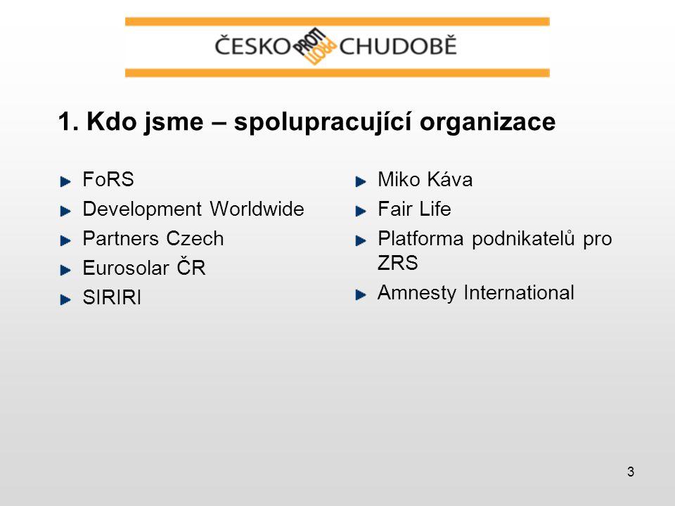 3 1. Kdo jsme – spolupracující organizace FoRS Development Worldwide Partners Czech Eurosolar ČR SIRIRI Miko Káva Fair Life Platforma podnikatelů pro
