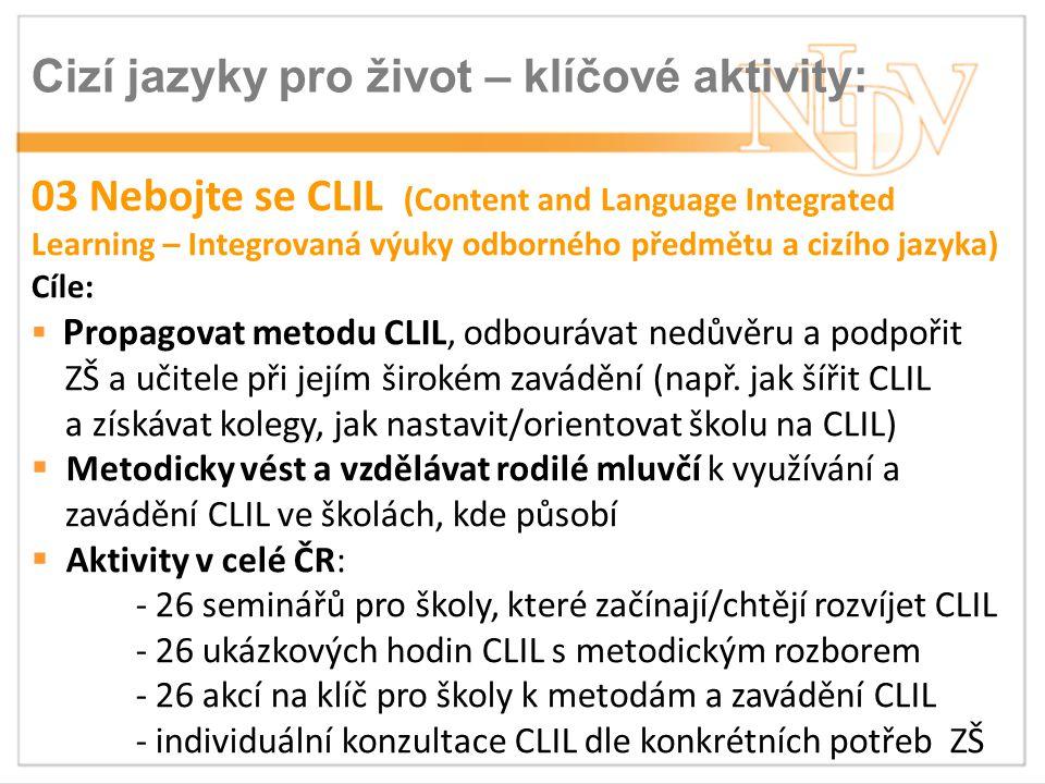 Cizí jazyky pro život – klíčové aktivity: KA 04 Brána jazyků  Jazykové vzdělávání především učitelů nejazykových předmětů a žáků se zaměřením na CLIL  Dvě formy: - prezenční jazykové vzdělávání pro učitele kurzy angličtiny a němčiny v 13 krajích po 3 kurzech (468 učitelů) - individualizovaného blended learningu s důrazem rozvoj ústních komunikačních dovedností včetně metodiky k zavádění CLIL 24 škol, 72 učitelů, 1.200 žáků
