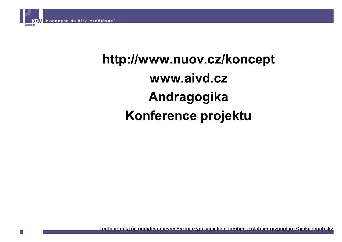 Kde sledovat další informace http://www.nuov.cz/koncept www.aivd.cz Andragogika Konference projektu Tento projekt je spolufinancován Evropským sociálním fondem a státním rozpočtem České republiky
