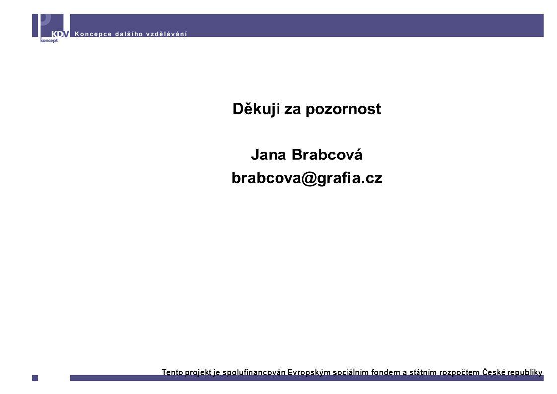 Děkuji za pozornost Jana Brabcová brabcova@grafia.cz Tento projekt je spolufinancován Evropským sociálním fondem a státním rozpočtem České republiky
