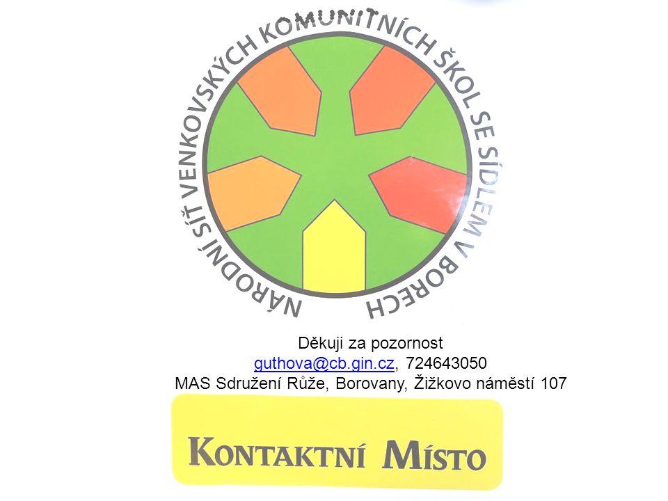 Děkuji za pozornost guthova@cb.gin.czguthova@cb.gin.cz, 724643050 MAS Sdružení Růže, Borovany, Žižkovo náměstí 107