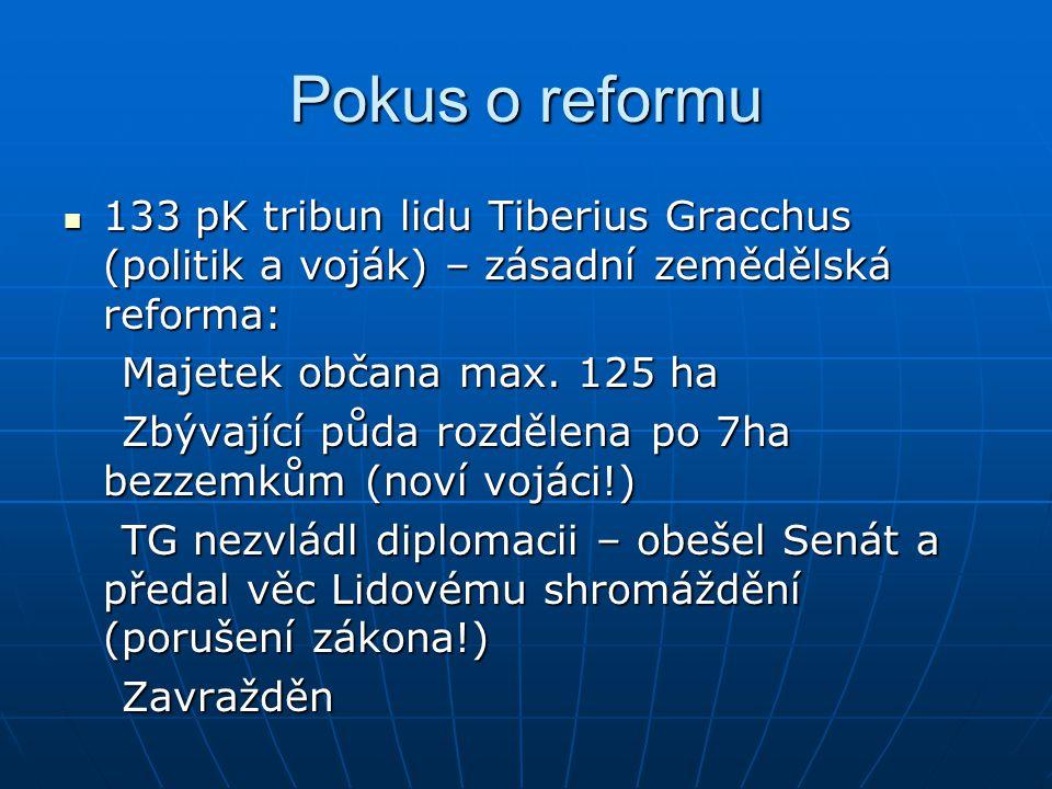 Pokus o reformu 123 pK Gaius Gracchus – následoval svého bratra 123 pK Gaius Gracchus – následoval svého bratra Pokus o umírněnou podobu Tiberiovy reformy Pokus o umírněnou podobu Tiberiovy reformy Kolonizuje Kartágo (šance pro bezzemky) Kolonizuje Kartágo (šance pro bezzemky) Měl velkou autoritu u vojska Měl velkou autoritu u vojska Prosazoval občanství pro provinciály Prosazoval občanství pro provinciály Moc jednotlivce na úkor Senátu (hrob republiky) Moc jednotlivce na úkor Senátu (hrob republiky)