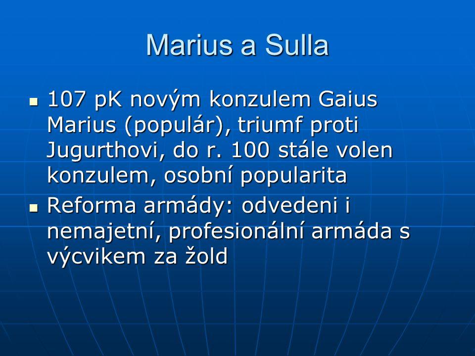 Marius a Sulla Sulla (optimát) rovněž vojenský velitel a autorita, likviduje vzpoury provinciálů za občanství Sulla (optimát) rovněž vojenský velitel a autorita, likviduje vzpoury provinciálů za občanství Úspěch ve válce s Ponty v Malé Asii (Mithridates) Úspěch ve válce s Ponty v Malé Asii (Mithridates) Ozbrojený střet s Mariem – Sullova diktatura Ozbrojený střet s Mariem – Sullova diktatura