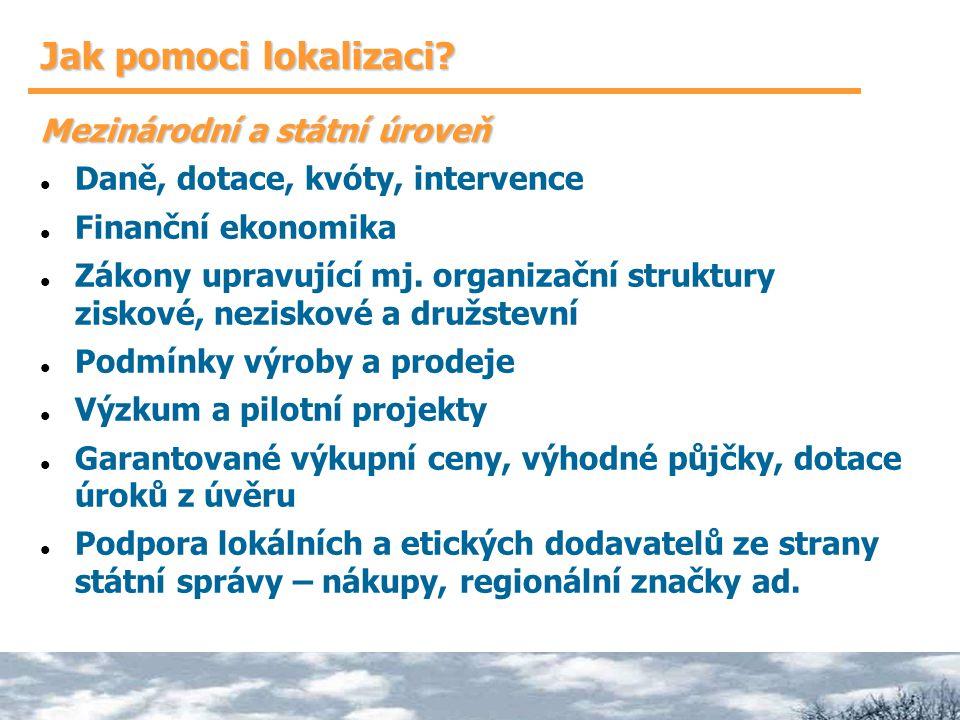 Jak pomoci lokalizaci? Mezinárodní a státní úroveň Daně, dotace, kvóty, intervence Finanční ekonomika Zákony upravující mj. organizační struktury zisk