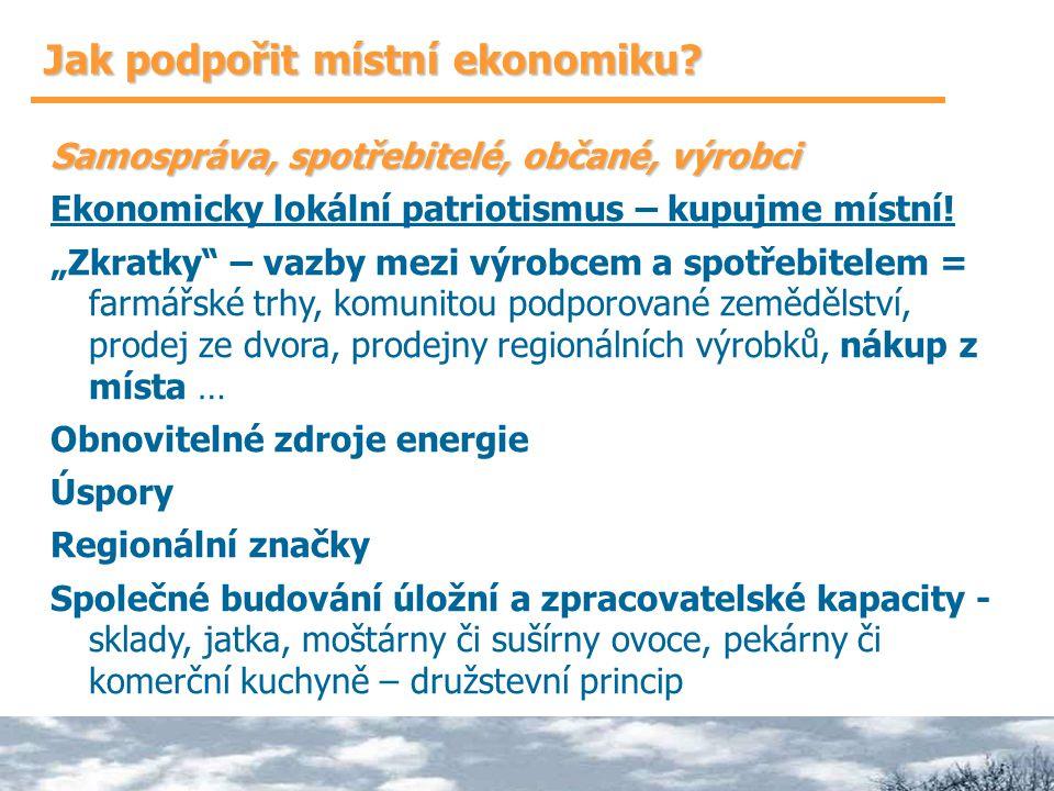 """Jak podpořit místní ekonomiku? Samospráva, spotřebitelé, občané, výrobci Ekonomicky lokální patriotismus – kupujme místní! """"Zkratky"""" – vazby mezi výro"""