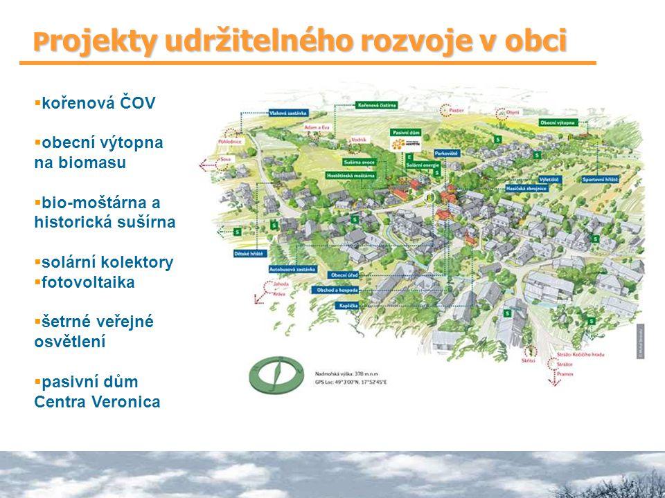 P rojekty udržitelného rozvoje v obci  kořenová ČOV  obecní výtopna na biomasu  bio-moštárna a historická sušírna  solární kolektory  fotovoltaika  šetrné veřejné osvětlení  pasivní dům Centra Veronica