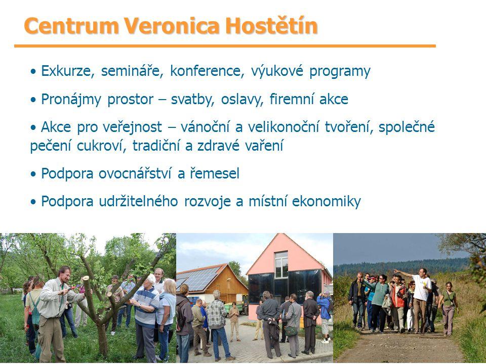 Centrum Veronica Hostětín Exkurze, semináře, konference, výukové programy Pronájmy prostor – svatby, oslavy, firemní akce Akce pro veřejnost – vánoční