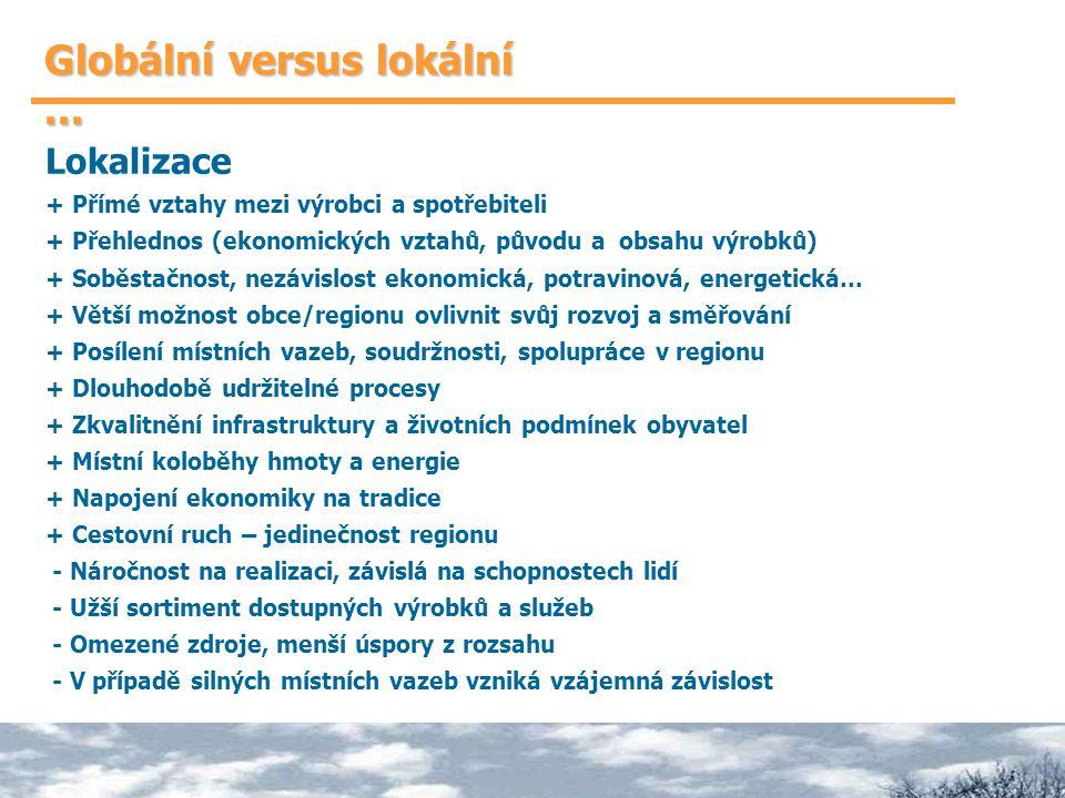 Globální versus lokální... Lokalizace + Přímé vztahy mezi výrobci a spotřebiteli + Přehlednos (ekonomických vztahů, původu a obsahu výrobků) + Soběsta