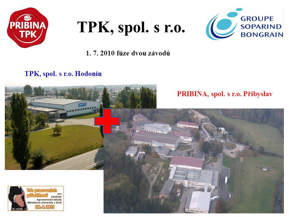TPK, spol. s r.o. 1. 7. 2010 fúze dvou závodů TPK, spol. s r.o. Hodonín PRIBINA, spol. s r.o. Přibyslav