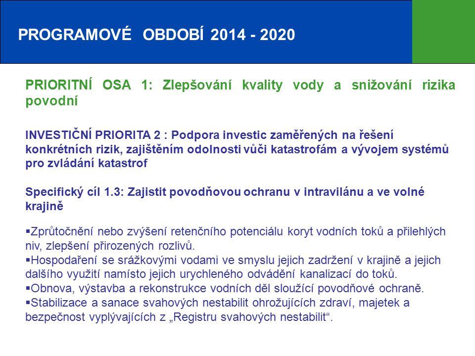 PROGRAMOVÉ OBDOBÍ 2014 - 2020 PRIORITNÍ OSA 1: Zlepšování kvality vody a snižování rizika povodní INVESTIČNÍ PRIORITA 2 : Podpora investic zaměřených na řešení konkrétních rizik, zajištěním odolnosti vůči katastrofám a vývojem systémů pro zvládání katastrof Specifický cíl 1.3: Zajistit povodňovou ochranu v intravilánu a ve volné krajině  Zprůtočnění nebo zvýšení retenčního potenciálu koryt vodních toků a přilehlých niv, zlepšení přirozených rozlivů.