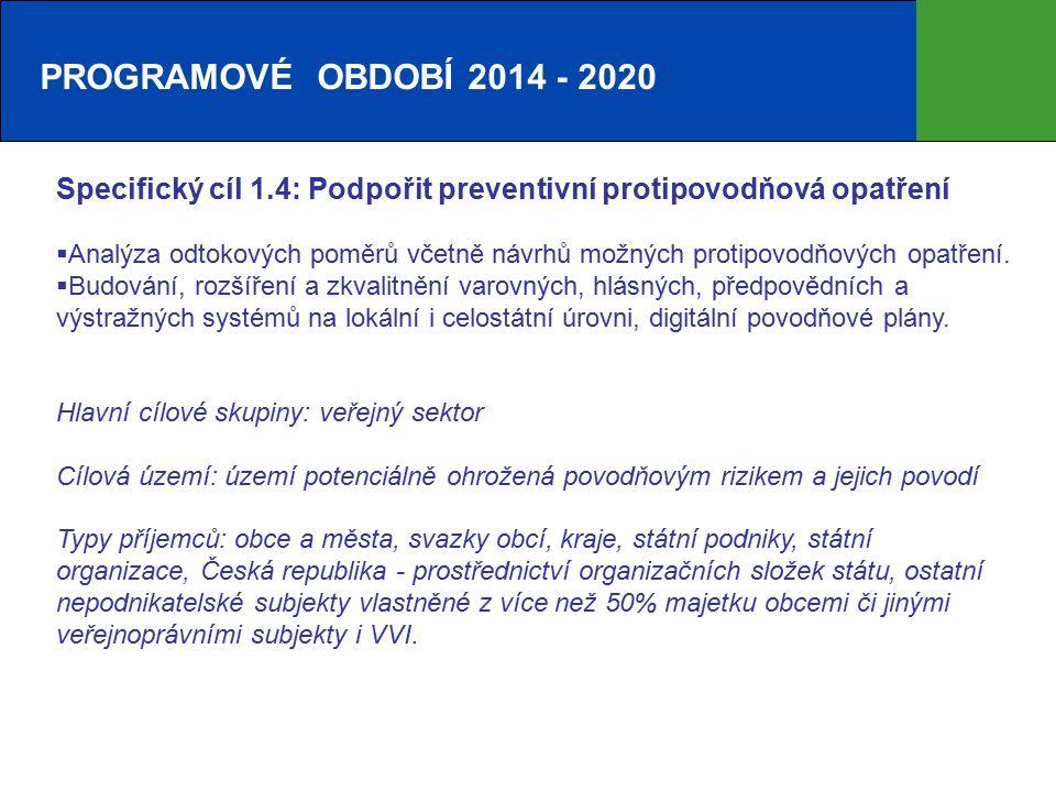 PROGRAMOVÉ OBDOBÍ 2014 - 2020 Specifický cíl 1.4: Podpořit preventivní protipovodňová opatření  Analýza odtokových poměrů včetně návrhů možných protipovodňových opatření.