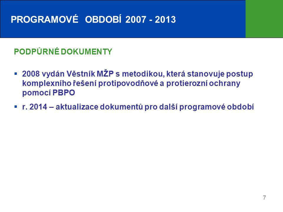 7 PODPŮRNÉ DOKUMENTY  2008 vydán Věstník MŽP s metodikou, která stanovuje postup komplexního řešení protipovodňové a protierozní ochrany pomocí PBPO  r.