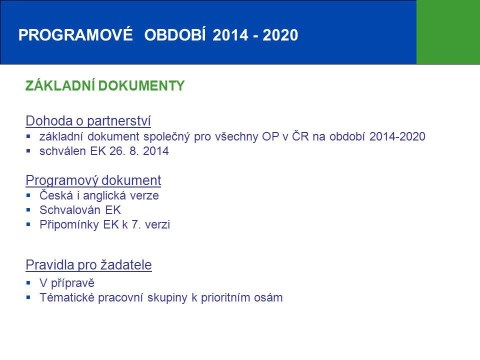 PROGRAMOVÉ OBDOBÍ 2014 - 2020 ZÁKLADNÍ DOKUMENTY Dohoda o partnerství  základní dokument společný pro všechny OP v ČR na období 2014-2020  schválen EK 26.