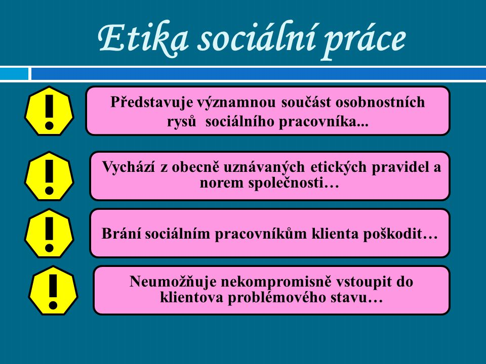 Etika sociální práce Zásady profesní etiky jsou shrnuty ve 2 dokumentech: Mezinárodní deklarace etických zásad sociálních pracovníků Mezinárodní etické standardy sociálních pracovníků I.