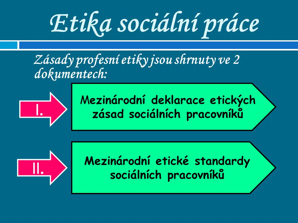 Etika sociální práce Zásady profesní etiky jsou shrnuty ve 2 dokumentech: Mezinárodní deklarace etických zásad sociálních pracovníků Mezinárodní etick