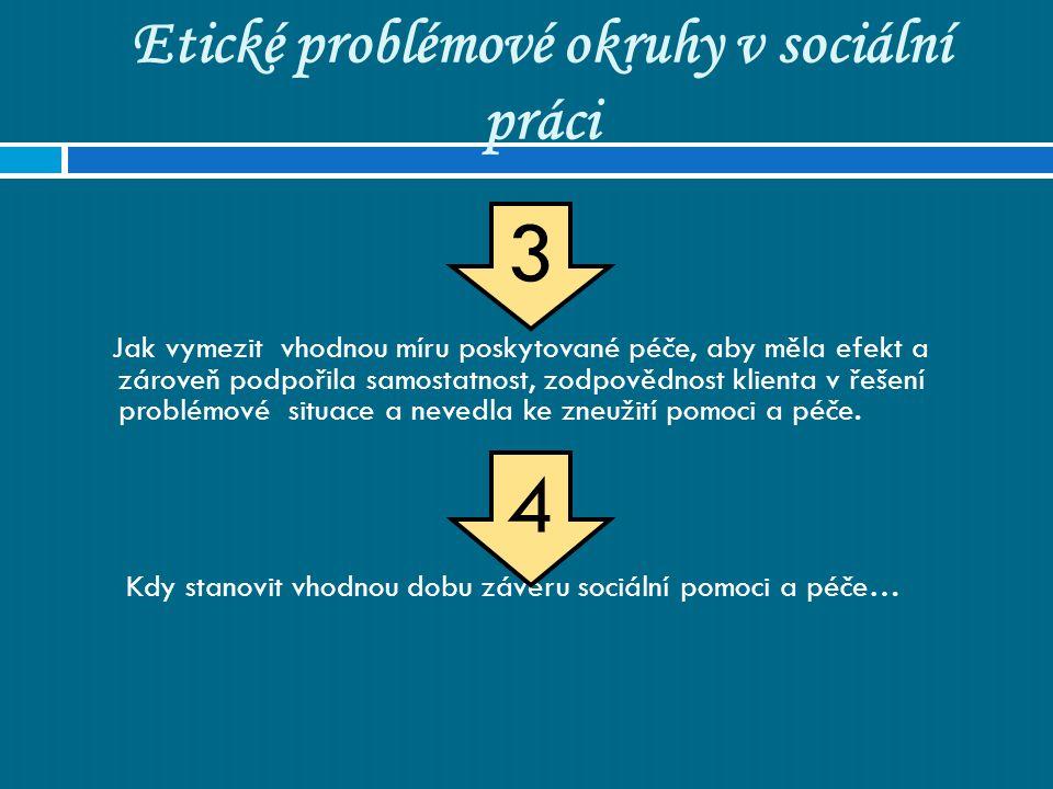 Etické problémové okruhy v sociální práci Jak vymezit vhodnou míru poskytované péče, aby měla efekt a zároveň podpořila samostatnost, zodpovědnost kli