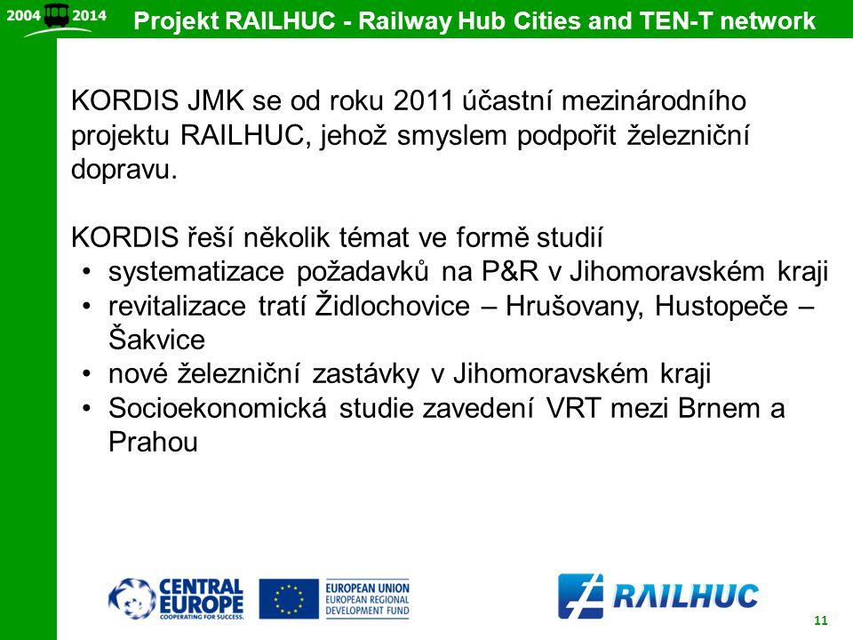 11 Projekt RAILHUC - Railway Hub Cities and TEN-T network KORDIS JMK se od roku 2011 účastní mezinárodního projektu RAILHUC, jehož smyslem podpořit že