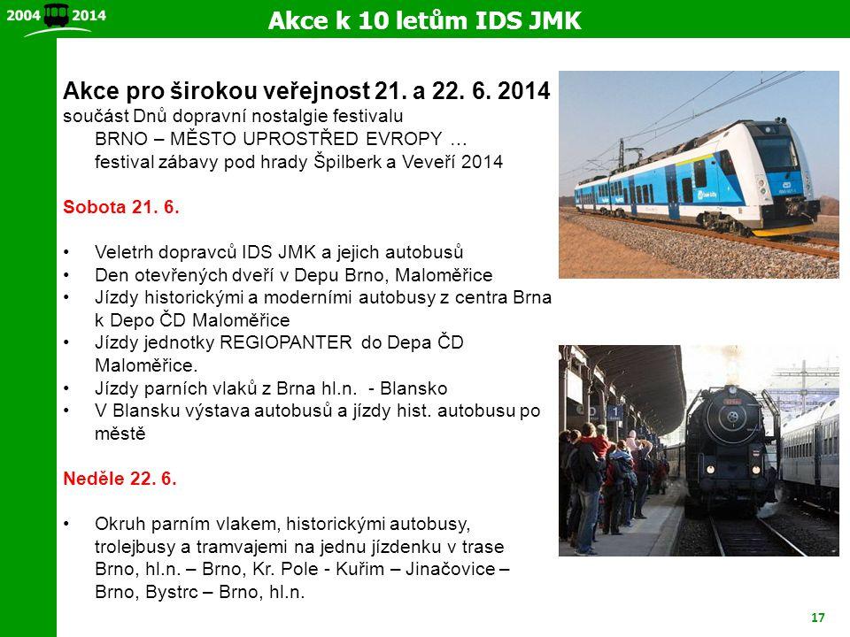 17 Akce k 10 letům IDS JMK Akce pro širokou veřejnost 21. a 22. 6. 2014 součást Dnů dopravní nostalgie festivalu BRNO – MĚSTO UPROSTŘED EVROPY … festi