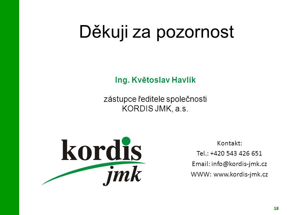 18 Děkuji za pozornost 18 Ing. Květoslav Havlík zástupce ředitele společnosti KORDIS JMK, a.s. Kontakt: Tel.: +420 543 426 651 Email: info@kordis-jmk.