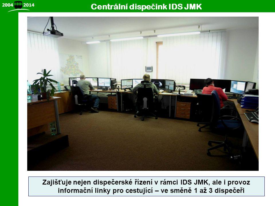 4 Centrální dispe č ink IDS JMK Zajišťuje nejen dispečerské řízení v rámci IDS JMK, ale i provoz informační linky pro cestující – ve směně 1 až 3 disp