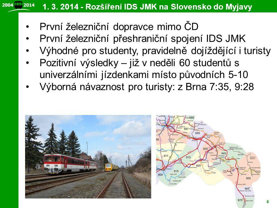6 První železniční dopravce mimo ČD První železniční přeshraniční spojení IDS JMK Výhodné pro studenty, pravidelně dojíždějící i turisty Pozitivní výs