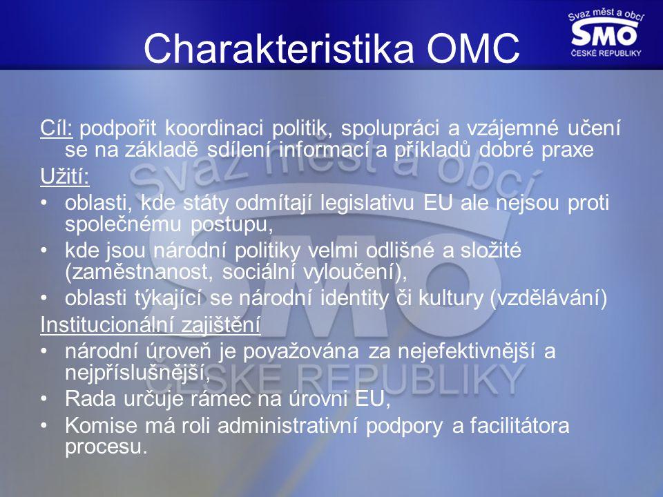 Charakteristika OMC Cíl: podpořit koordinaci politik, spolupráci a vzájemné učení se na základě sdílení informací a příkladů dobré praxe Užití: oblasti, kde státy odmítají legislativu EU ale nejsou proti společnému postupu, kde jsou národní politiky velmi odlišné a složité (zaměstnanost, sociální vyloučení), oblasti týkající se národní identity či kultury (vzdělávání) Institucionální zajištění národní úroveň je považována za nejefektivnější a nejpříslušnější, Rada určuje rámec na úrovni EU, Komise má roli administrativní podpory a facilitátora procesu.