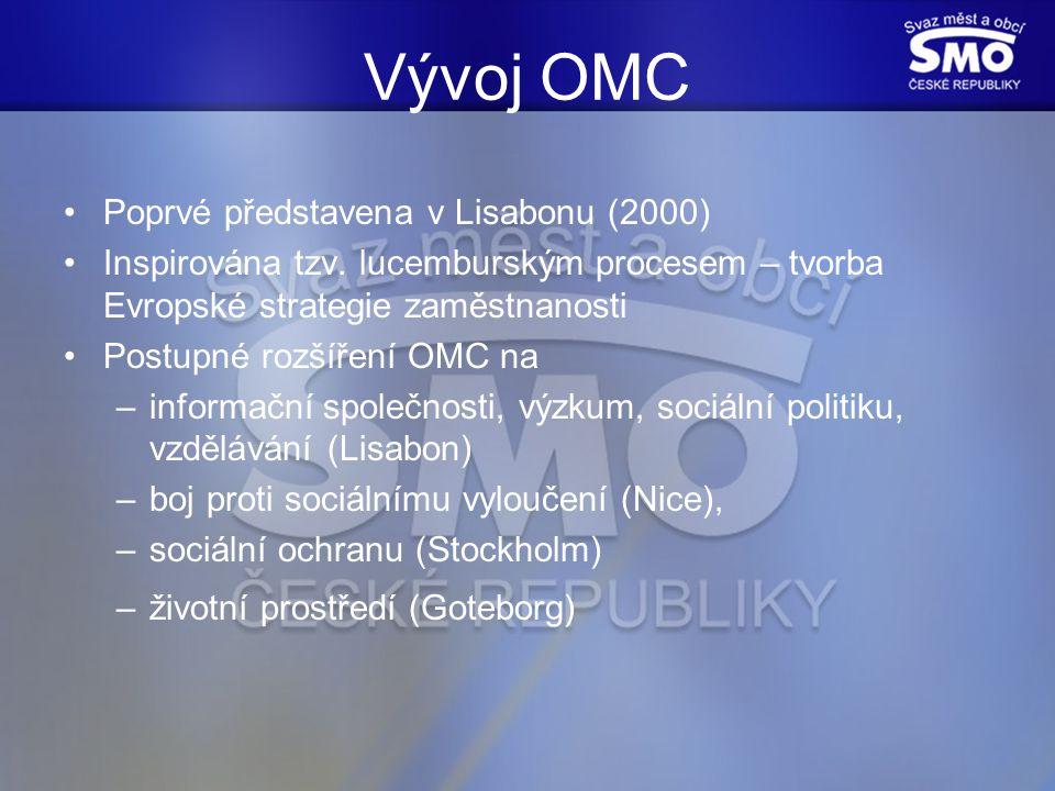 Argumenty pro OMC OMC je pružná – nepředepisuje řešení funguje decentralizovaně shromažďuje důležité informace, zkušenosti a znalosti nezná donucovací prostředky; je založená na procesu učení transparentní Zatím však nepřesvědčivé výsledky v naplňování Lisabonské strategie
