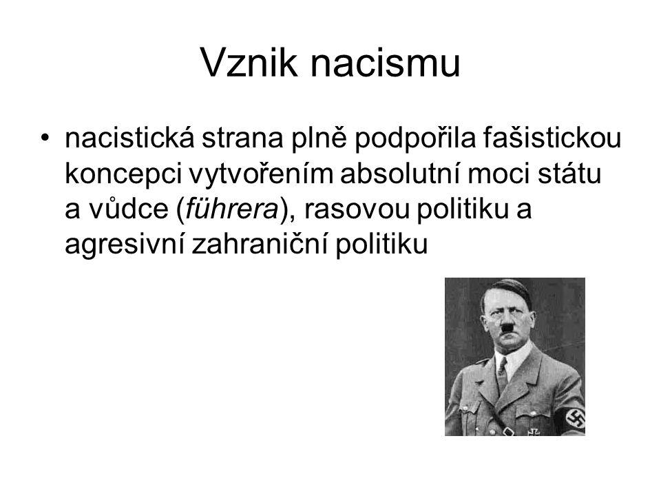 Vznik nacismu nacistická strana plně podpořila fašistickou koncepci vytvořením absolutní moci státu a vůdce (führera), rasovou politiku a agresivní za