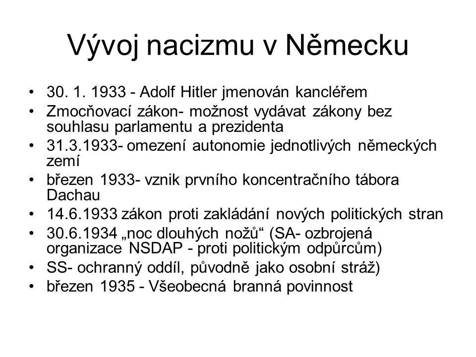 Vývoj nacizmu v Německu 30. 1. 1933 - Adolf Hitler jmenován kancléřem Zmocňovací zákon- možnost vydávat zákony bez souhlasu parlamentu a prezidenta 31