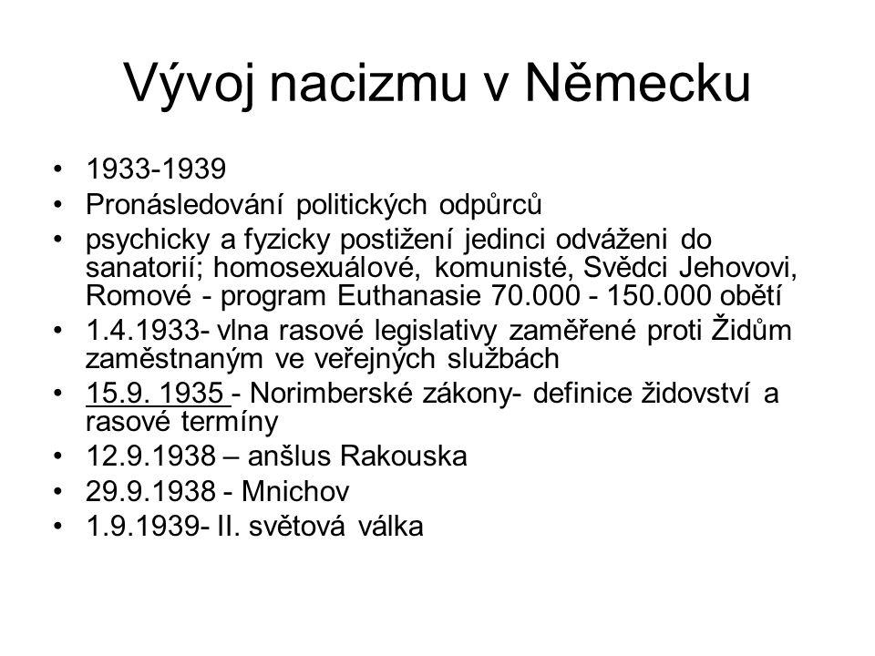 Vývoj nacizmu v Německu 1933-1939 Pronásledování politických odpůrců psychicky a fyzicky postižení jedinci odváženi do sanatorií; homosexuálové, komun