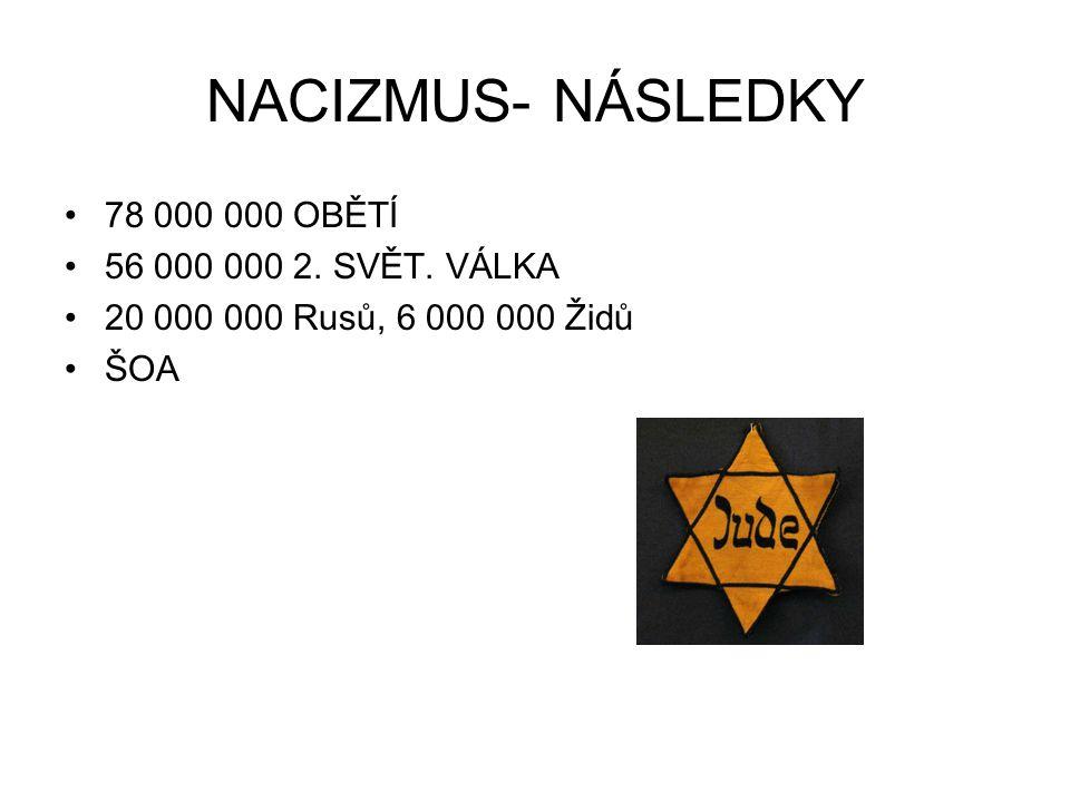 NACIZMUS- NÁSLEDKY 78 000 000 OBĚTÍ 56 000 000 2. SVĚT. VÁLKA 20 000 000 Rusů, 6 000 000 Židů ŠOA