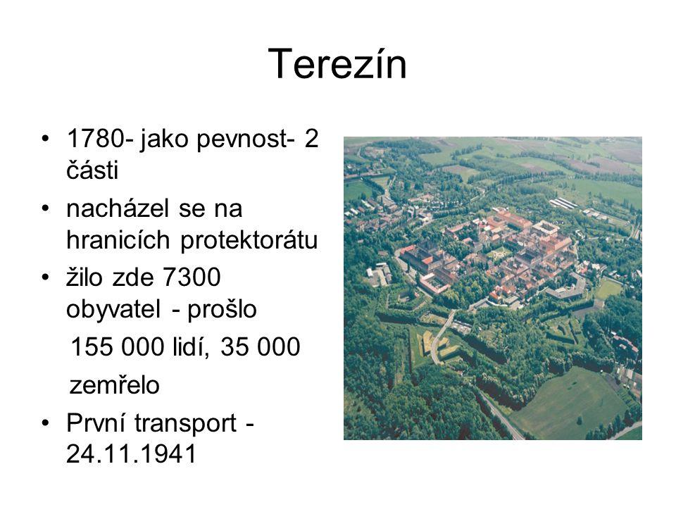 Terezín 1780- jako pevnost- 2 části nacházel se na hranicích protektorátu žilo zde 7300 obyvatel - prošlo 155 000 lidí, 35 000 zemřelo První transport
