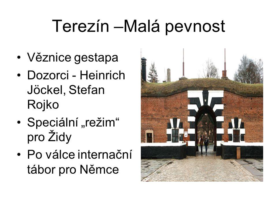 """Terezín –Malá pevnost Věznice gestapa Dozorci - Heinrich Jöckel, Stefan Rojko Speciální """"režim"""" pro Židy Po válce internační tábor pro Němce"""