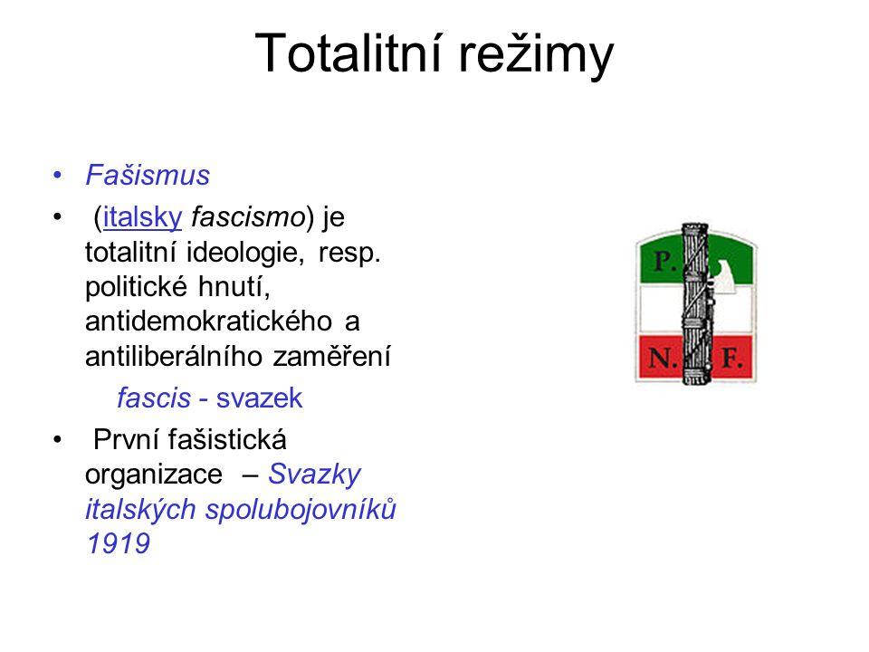 Totalitní režimy Fašismus (italsky fascismo) je totalitní ideologie, resp. politické hnutí, antidemokratického a antiliberálního zaměřeníitalsky fasci