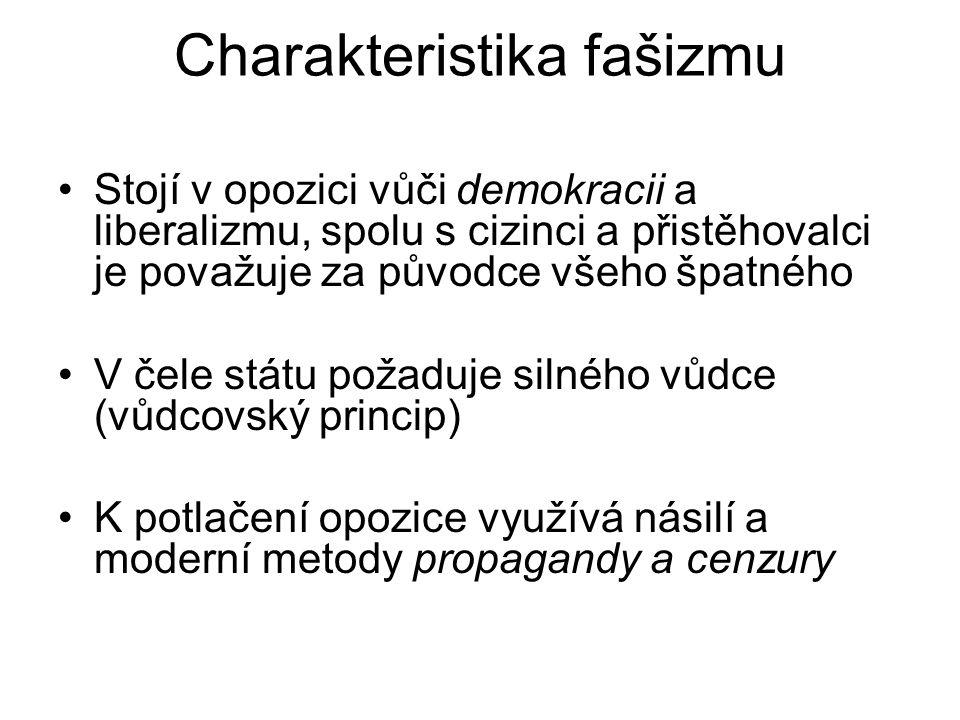 Charakteristika fašizmu Stojí v opozici vůči demokracii a liberalizmu, spolu s cizinci a přistěhovalci je považuje za původce všeho špatného V čele st