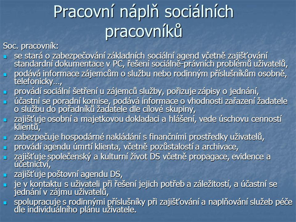 Pracovní náplň sociálních pracovníků Soc. pracovník: se stará o zabezpečování základních sociální agend včetně zajišťování standardní dokumentace v PC