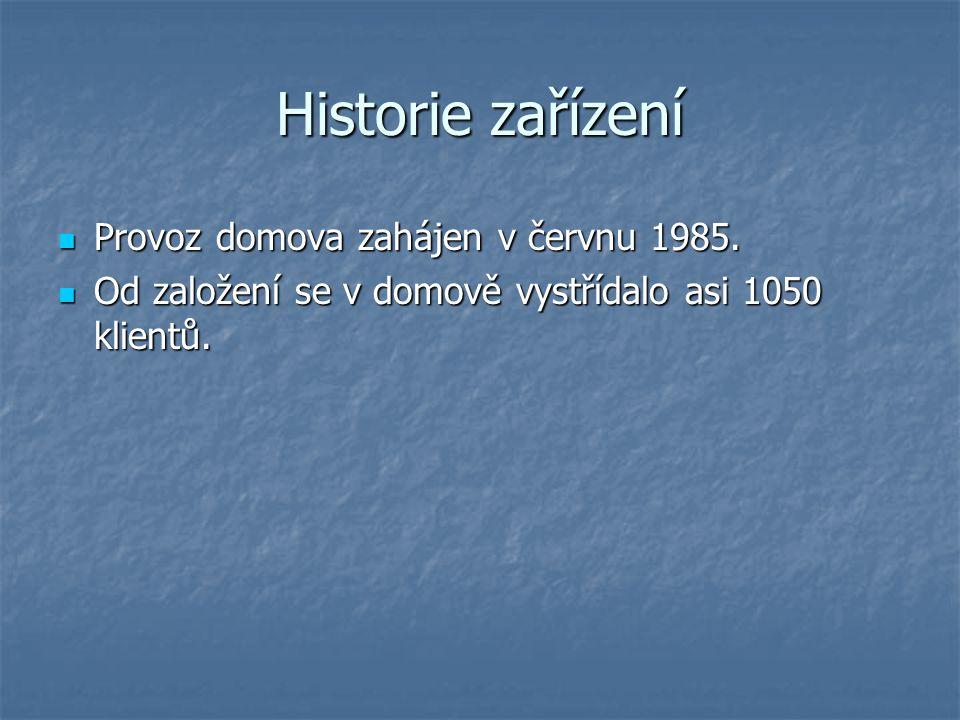 Historie zařízení Provoz domova zahájen v červnu 1985. Provoz domova zahájen v červnu 1985. Od založení se v domově vystřídalo asi 1050 klientů. Od za