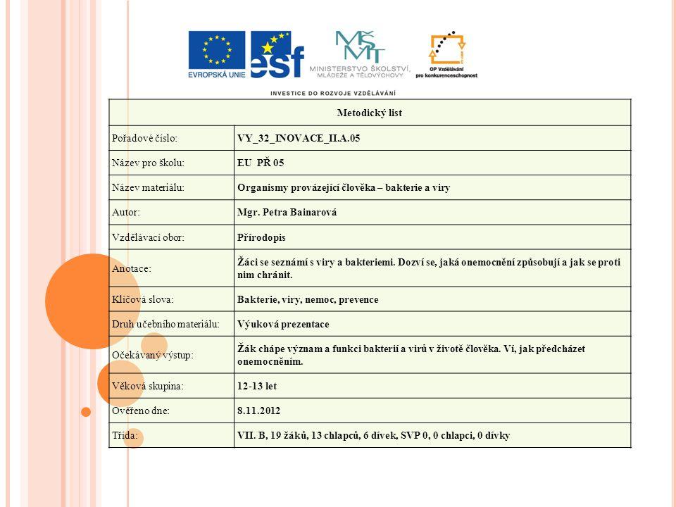 Metodický list Pořadové číslo:VY_32_INOVACE_II.A.05 Název pro školu:EU PŘ 05 Název materiálu:Organismy provázející člověka – bakterie a viry Autor:Mgr.