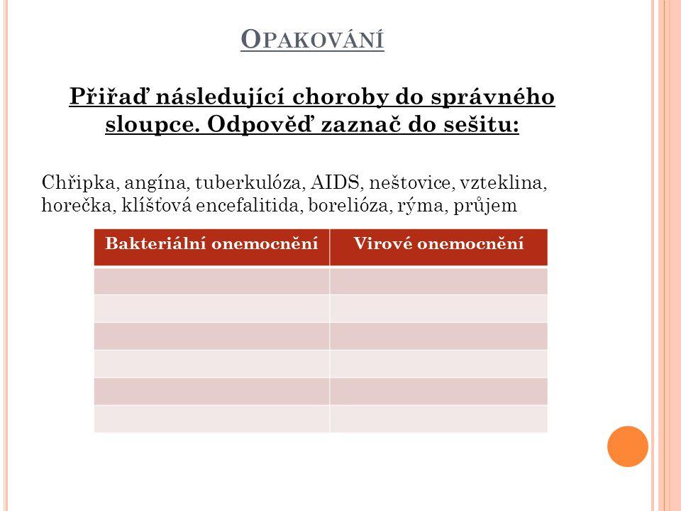 ŘEŠENÍ Bakteriální onemocněníVirové onemocnění AngínaChřipka boreliózaNeštovice Tuberkulóza - TBCVzteklina horečkaAIDS průjemencefalitida rýma